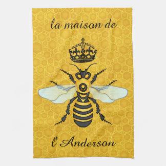 Honeybee Honeycomb French Bee Elegant Custom Name Tea Towel