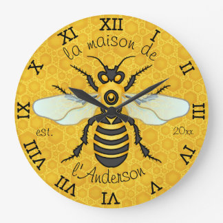 Honeybee Honeycomb French Bee Family Name Elegant Large Clock