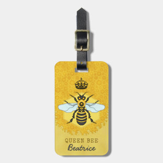 Honeybee Honeycomb Queen Bee Bumblebee Custom Name Luggage Tag