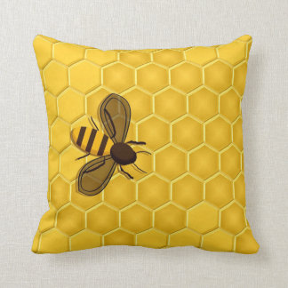 Honeybee on a Honeycomb Accent Pillow