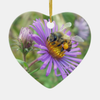 Honeybee on Fall Asters Christmas Ornament