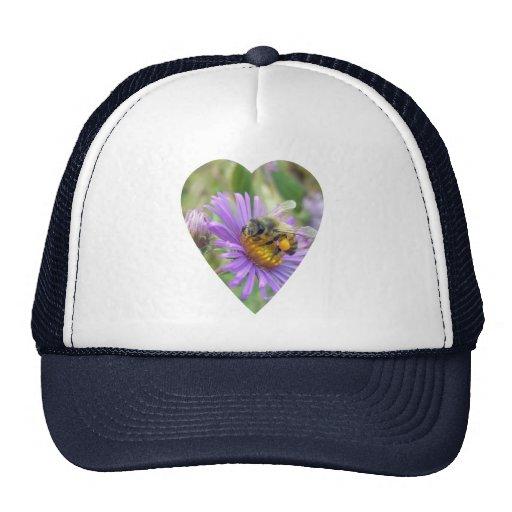 Honeybee on Fall Asters Heart Mesh Hats