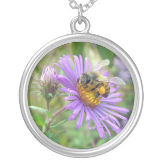 Honeybee on Fall Asters Wildflower Round Pendant Necklace
