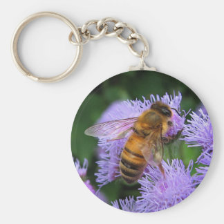 Honeybee on Purple Ageratum Flowers Keychain