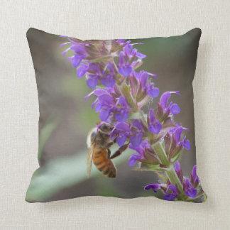 Honeybee on Purple Salvia Pillow