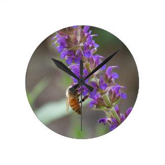 Honeybee on Salvia Wall Clock