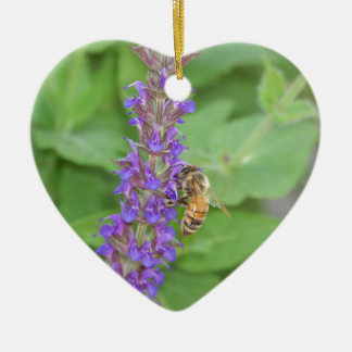 Honeybee on Salvia Officinalis Ceramic Heart Decoration