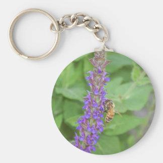 Honeybee on Salvia Officinalis Keychain