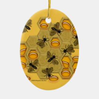 Honeybees and Honeycomb on Yellow Christmas Ornament