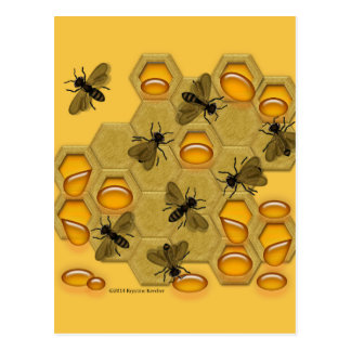 Honeybees and Honeycomb on Yellow Postcard