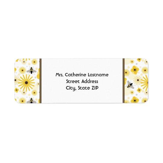 Honeybees & Flowers Address Label