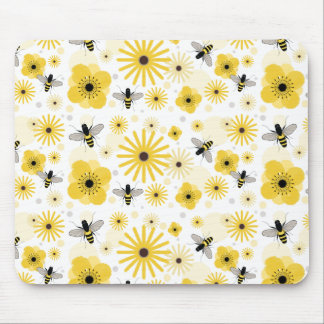 Honeybees Flowers & Polka Dots Mousepad