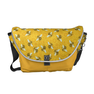 Honeybees Honeycomb Bumble Bee Hive Pattern Courier Bags