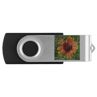 Honeybees on Blanket Flower Swivel USB 2.0 Flash Drive