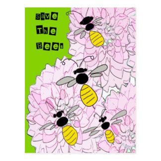 Honeybees over Pink Dahlias Postcard
