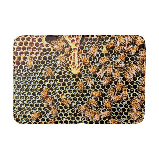 Honeycomb and Honey Bees Bath Mat Bath Mats
