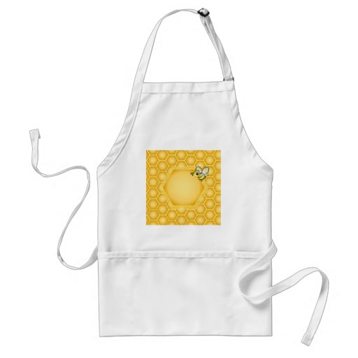 Honeycomb background with a cute honeybee apron