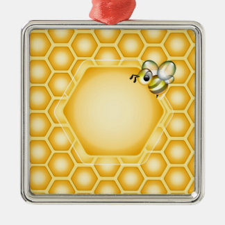 Honeycomb background with a cute honeybee christmas ornament