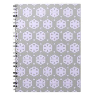 Honeycomb circle packing pattern (gray & purple) spiral note books