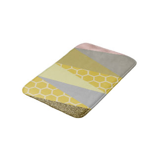 'Honeycomb Glitter' - Yellow and Grey Bath Mat