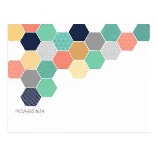 Honeycomb hexagon geometric Proverb 16:24 postcard