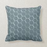 Honeycomb Hive Hexagon Pattern in Blue Cushion