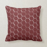 Honeycomb Hive Hexagon Pattern in Burgundy Cushion