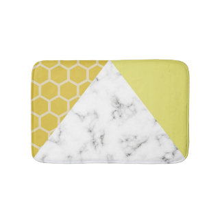 Honeycomb & Marble effect: Mustard Yellow Bath Mat