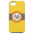 Honeycomb Pattern and Flower Monogram Personalised Case For The iPhone 5