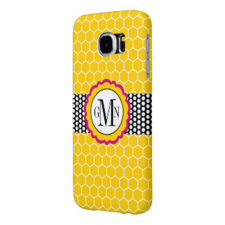 Honeycomb Pattern and Flower Monogram Personalized Samsung Galaxy S6 Cases