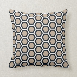 Honeycomb Pattern Tan Black White Cushion