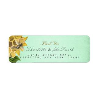 Honeymoon Bee Sunflower Return Address Labels
