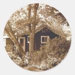 Honeymoon cottage round sticker