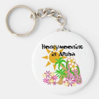 Honeymooning in Aruba Basic Round Button Key Ring