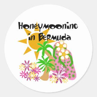 Honeymooning in Bermuda Classic Round Sticker