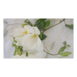 honeysuckle and freesias on lace business card