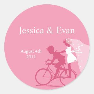 HoneySuckle Bicycle Couple Wedding Sticker