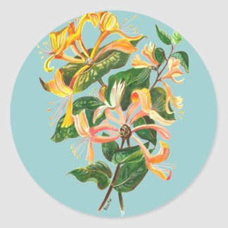 Honeysuckle Bouquet Classic Round Sticker