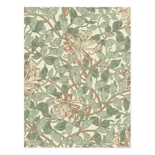Honeysuckle Floral Wallpaper William Morris Post Card