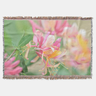 Honeysuckle flowers throw blanket