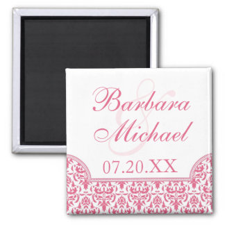 Honeysuckle Pink Damask Save the Date Magnet