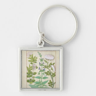 Honeysuckle, Sage and Rose Silver-Colored Square Key Ring