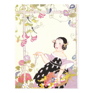 Honeysuckle Vine and Girl with Cut Flowers Postcard
