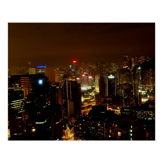 Hong Kong at Night Poster