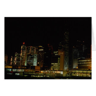Hong Kong at night, with star ferry passenger craf Greeting Card