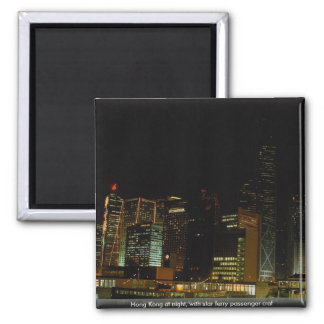 Hong Kong at night, with star ferry passenger craf Fridge Magnets