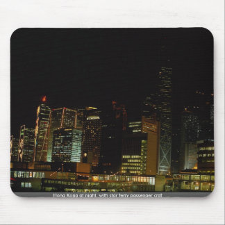 Hong Kong at night with star ferry passenger craf Mousepads