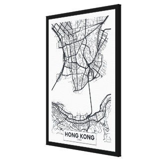 Hong Kong, China | Black and White City Map Canvas Print