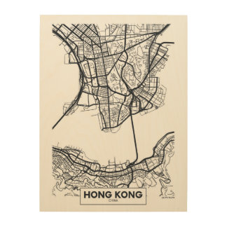 Hong Kong, China | Black and White City Map Wood Print