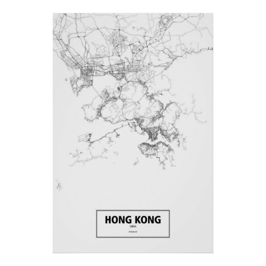 Hong Kong, China (black on white) Poster